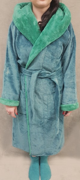 Plüsch Bademantel mit Kapuze Farbe blau-grau