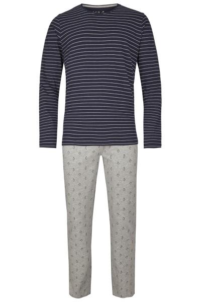 Herren Pyjama Set 546-00 marine gestreift