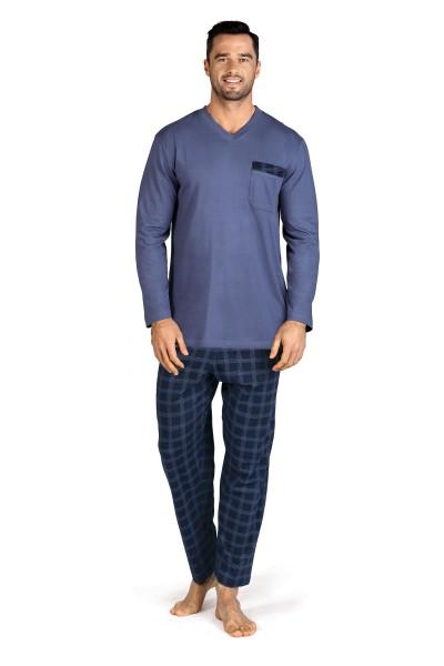 Herren Schlafanzug lang 192822 blau