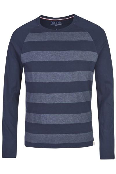 Herren Shirt 533-00 lang marine Streifen
