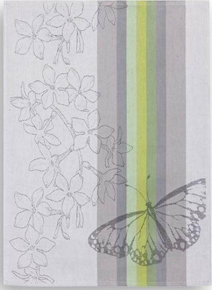 Geschirrtuch Halbleinen Motiv: Schmetterling grau