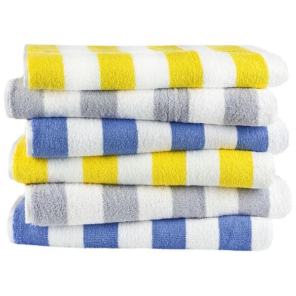 Handtuch Blockstreifen - weiß/blau