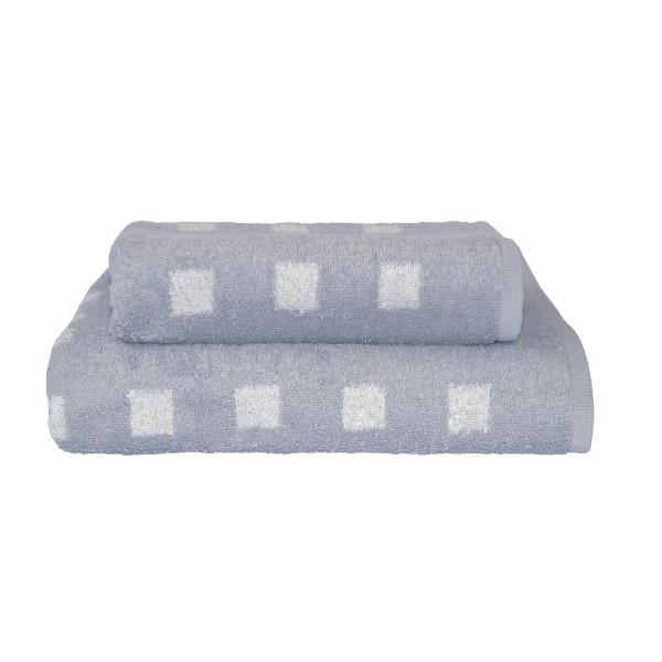 Handtuch grau mit Kästchen 50x100cm