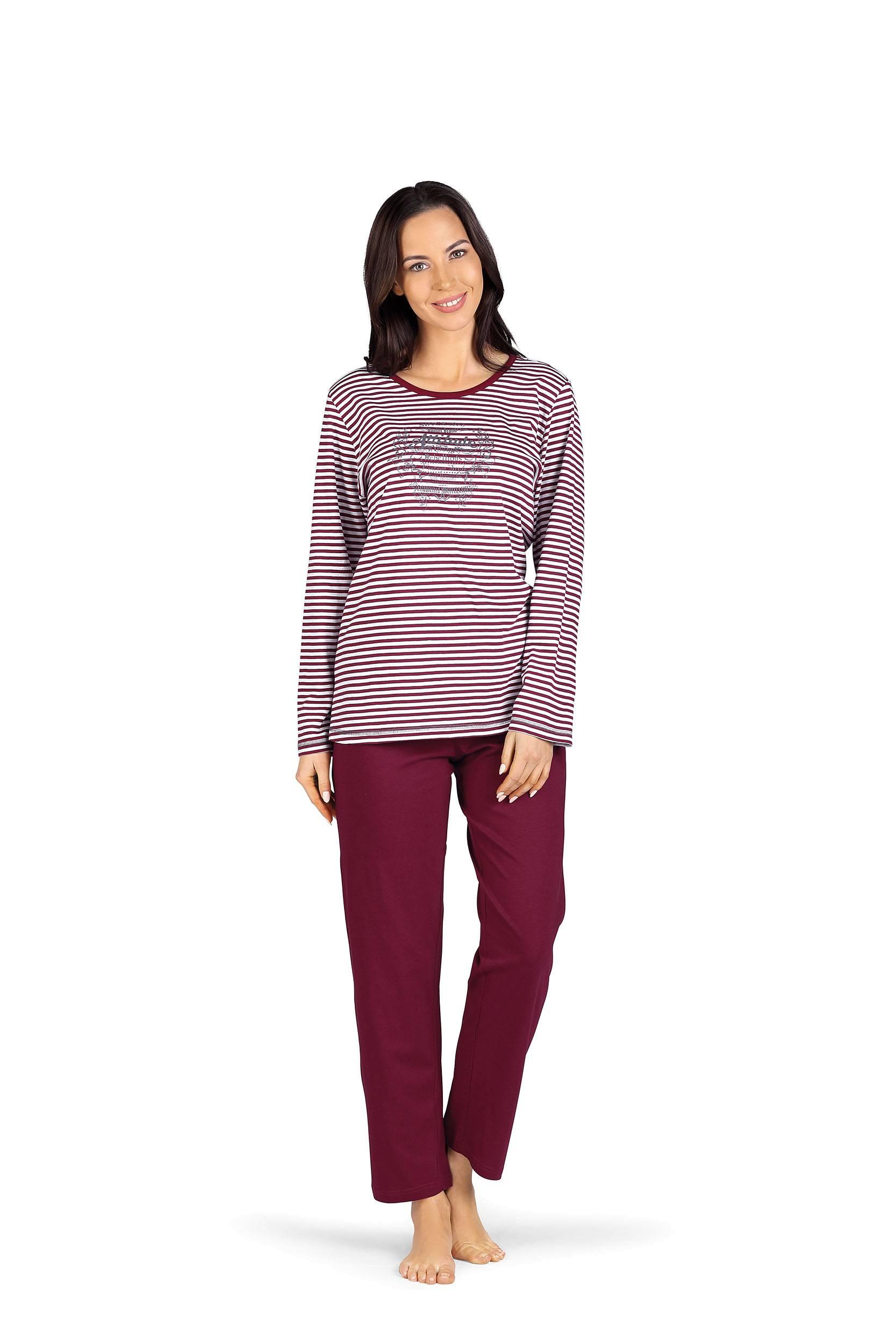 Damen Frottee Pyjama lang mit Bündchen Hose gestreift auch