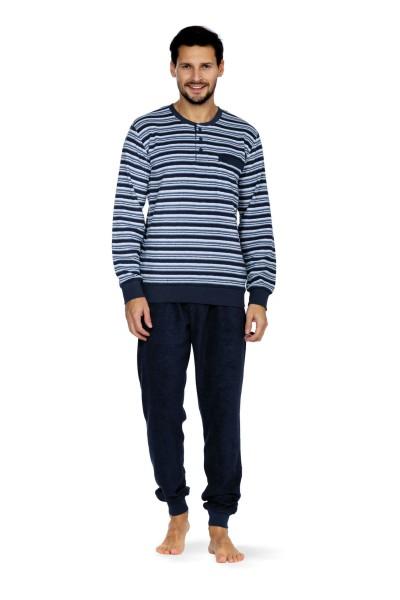 Herren Frottee 202808 blau gestreift Schlafanzug