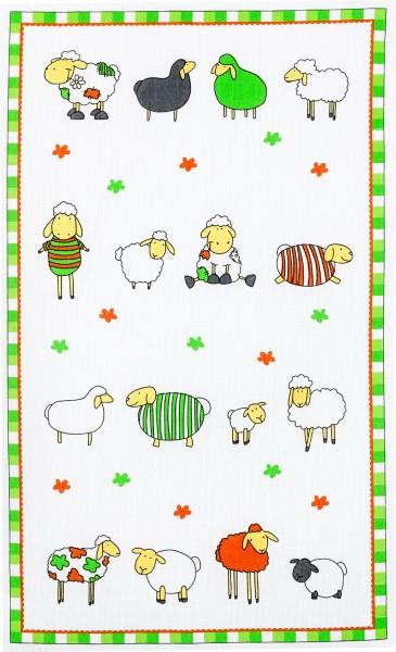 Geschirrtuch Baumwolle Motiv: bunte Schafe