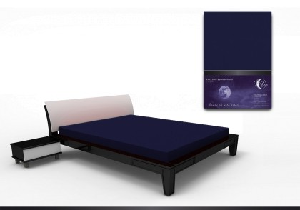 Spannbettlaken black line 200x220cm dunkelblau