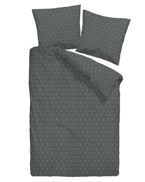 Jacquard-Feinflanell Bettwäsche 155x220cm schwarz gemustert