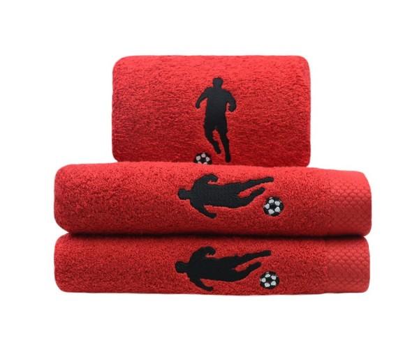Handtuch Fußballer in rot Größe 50x100cm