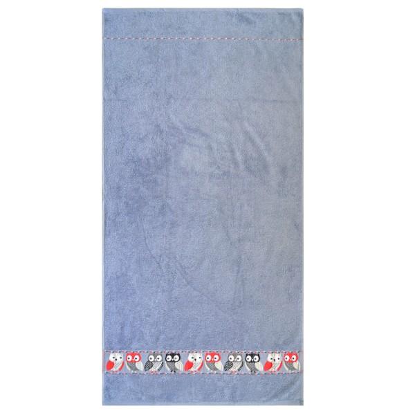 Waschhandschuh Eule in grau Größe 16x21cm