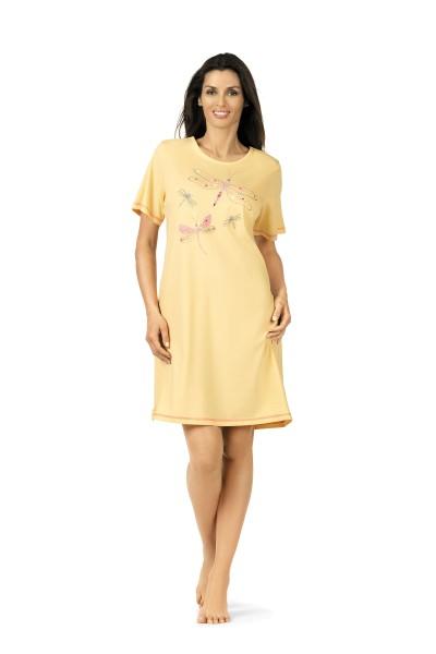Damen Nachthemd kurz Arm 181217 gelb