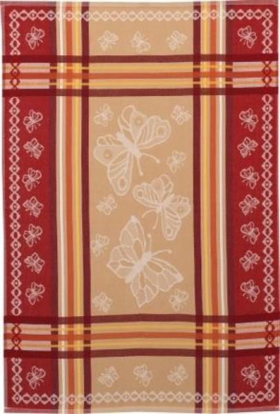 Geschirrtuch Baumwolle Motiv: Schmetterlinge, rot