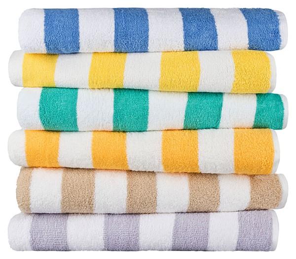 Handtuch Blockstreifen - weiß / gelb