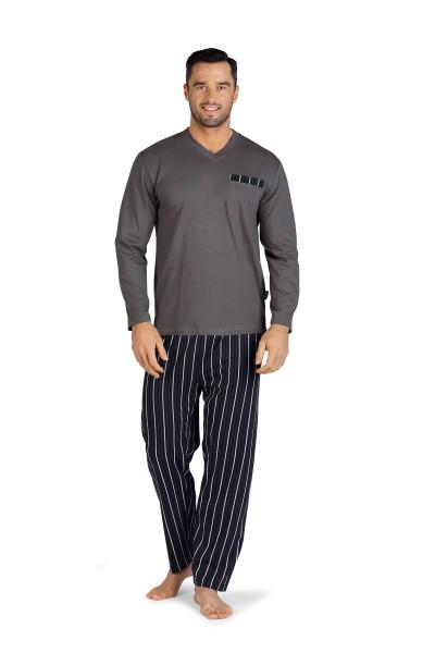 Herren Schlafanzug lang 192806/11 dunkelblau