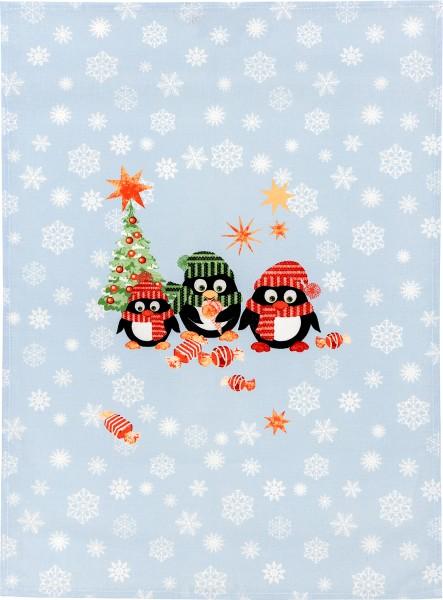 Geschirrtuch Halbleinen Weihnachtspinguine