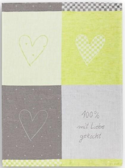 Geschirrtuch Halbleinen, Motiv: 100% Liebe, grün