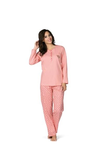Damen Schlafanzug lang 182332 rosa