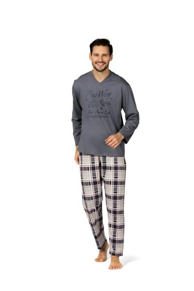 Herren Schlafanzug lang 182801 blau