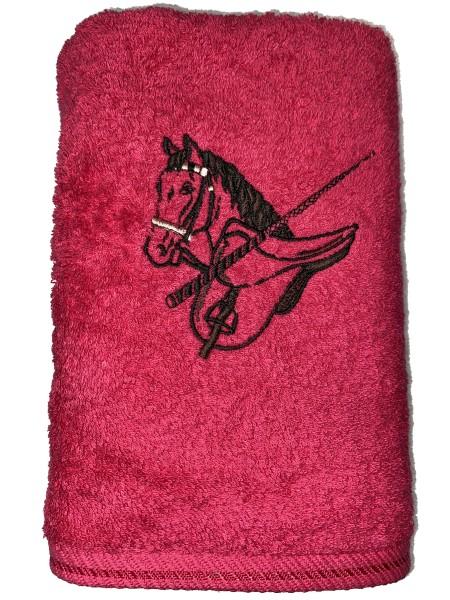 Handtuch pink mit Stickerei Pferd