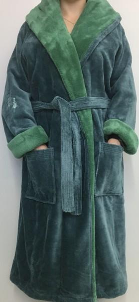 Flauschiger Bademantel mit Kapuze Farbe blau-grau