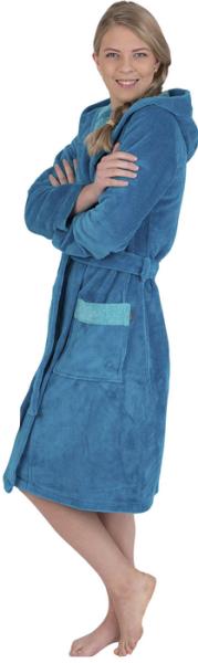 Kapuzenbademantel 4110 karibikblau