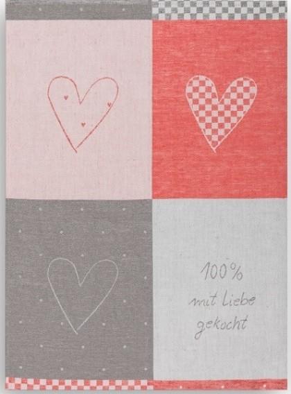 Geschirrtuch Halbleinen Motiv: 100% mit Liebe gekocht rot