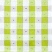 Geschirrtuch Halbleinen Motiv: Herzenkaro grün