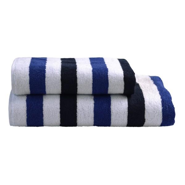 Handtuch Streifen weiß/blau