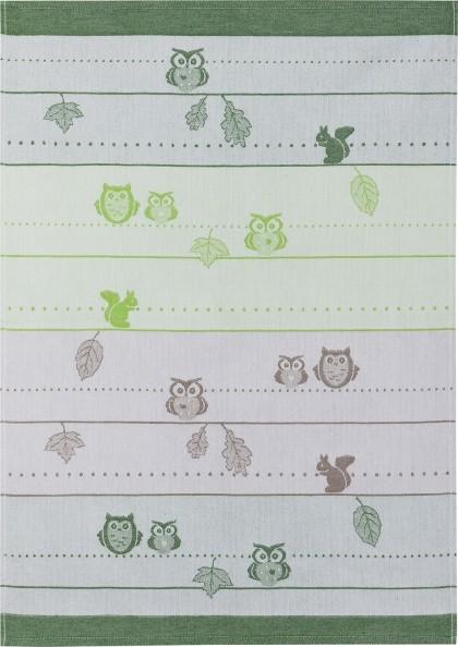 Geschirrtuch Baumwolle Motiv: Eule, grün