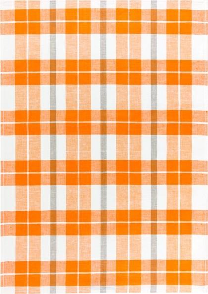 Geschirrtuch Halbleinen Karo groß orange Größe: 50x70cm--
