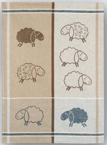 Geschirrtuch Halbleinen Motiv: Schafe
