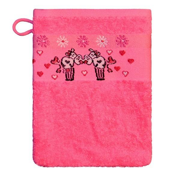Waschhandschuh Kuh in pink Größe 16x21cm