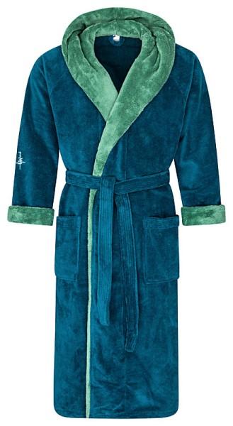 Flauschiger Bademantel mit Kapuze Farbe petrol/grün Gr. XXL