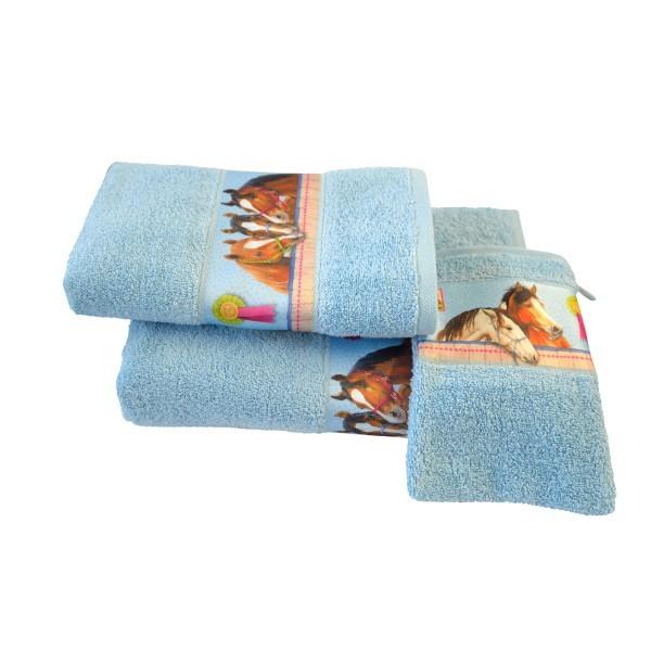 Handtuch Pferdefreunde in blau Größe 50x80cm