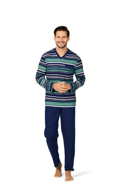 Herren Schlafanzug lang 182830 blau/grün