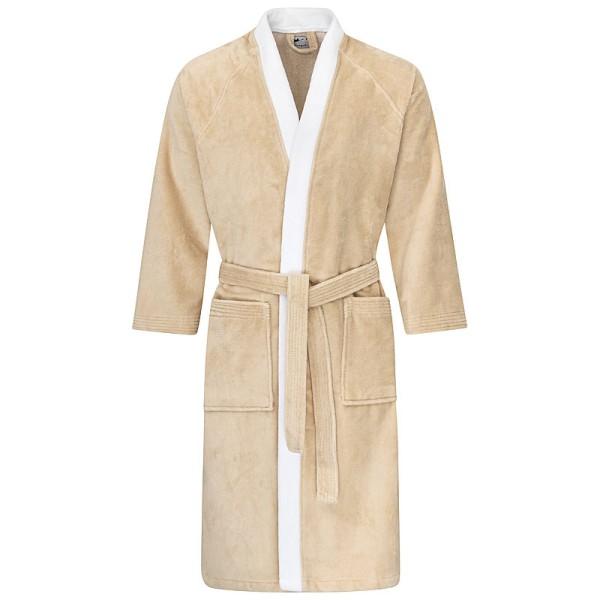 Bademantel Kimono beige-weiß 590