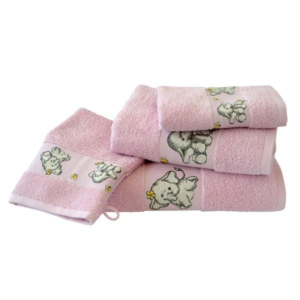 Waschhandschuh Elefanten in rosa Größe 16x21cm