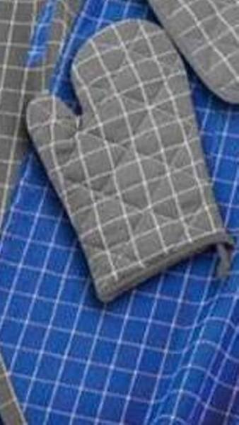 Grillhandschuh Baumwolle in grau-weiß 22x22cm