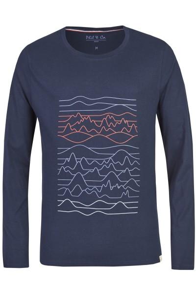 Herren Shirt 533-00 lang marine Muster