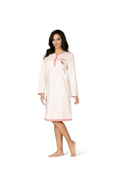 Damen Nachthemd lang 182223 creme/rose