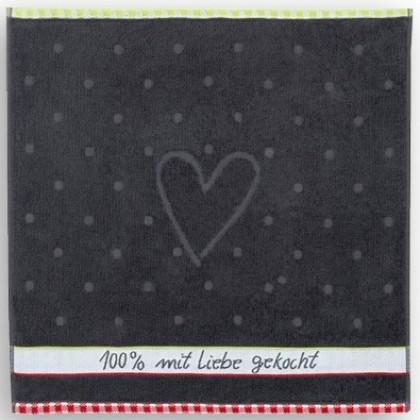 Frottier Geschirrtuch Baumwolle Motiv: 100% Liebe