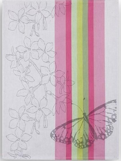 Geschirrtuch Halbleinen Motiv: Schmetterling pink