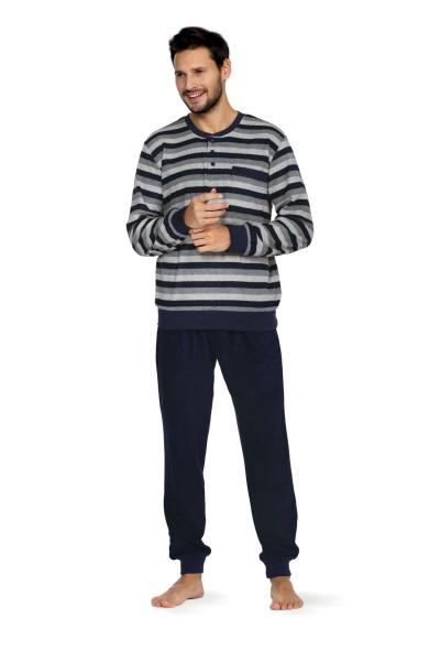 Herren Frottee Schlafanzug 202804 blau/grau gestreift Gr. 48