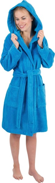 Kapuzenbademantel blau 6110