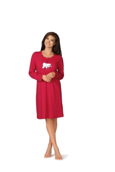 Damen Nachthemd lang 182280 rot