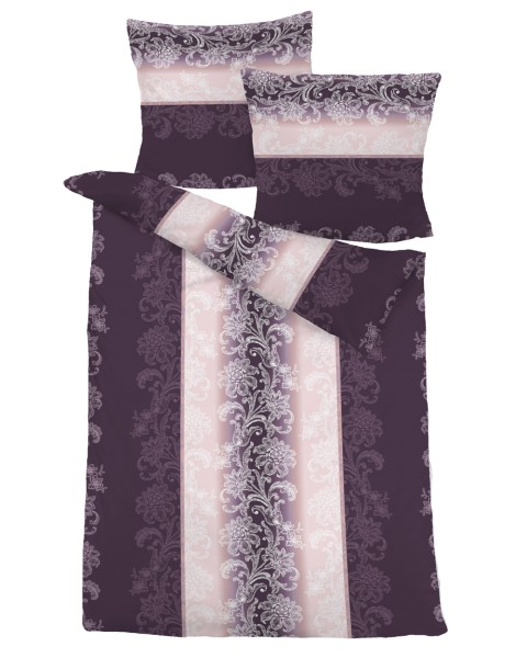 biber bettw sche 155x220cm lila mit muster frottee welt. Black Bedroom Furniture Sets. Home Design Ideas