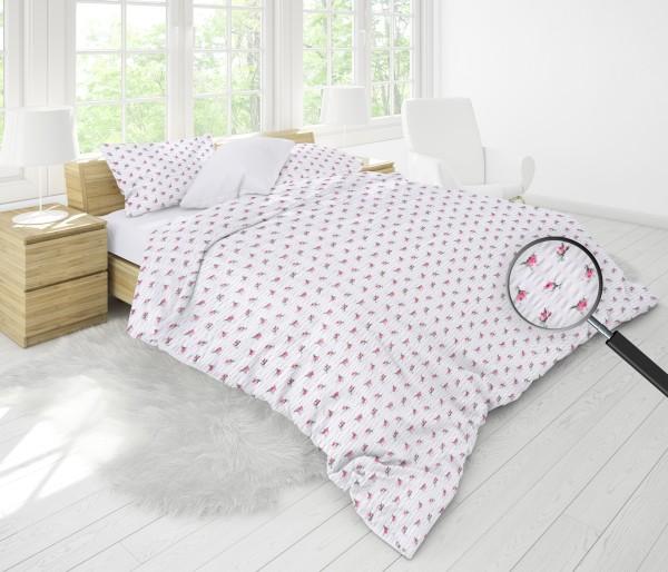 Seersucker Bettwäsche Landhaus Blumen rosa 135x200cm