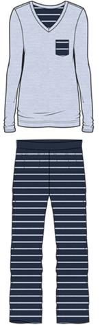 Damen Pyjama Set 587-00 hellblau