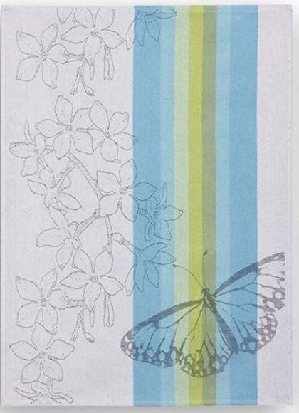 Geschirrtuch Halbleinen Motiv: Schmetterling blau