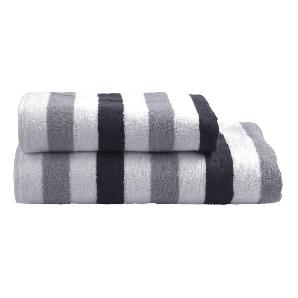 Duschtuch Streifen weiß/grau